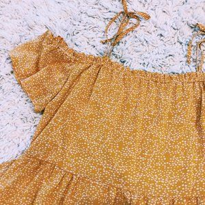 Xhileration Dresses - Xhileration Yellow Off-The-Shoulder Tie Dress